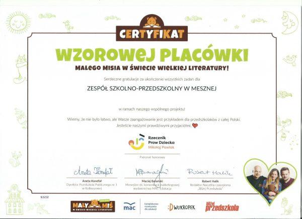 Certyfikat Wzorowej Placówki